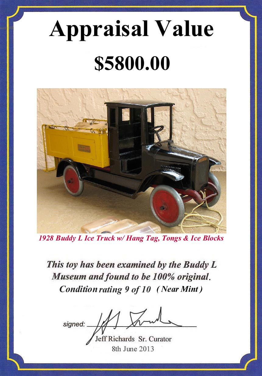 antique buddy l ice truck with buddy l ice tongs, buddy l toys for sale free confidential appraisals,  free toy appraisals, buddy l ice blocks, and buddy l hang tag Vintage space toys wanted