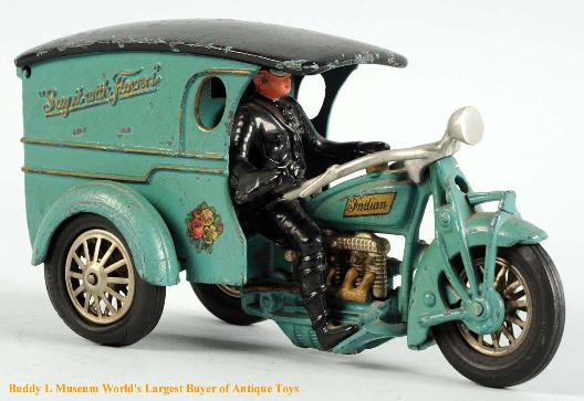 Hubely cast iron toys wanted Buddy L Museum world's larget buyer of vintage Hubley Toys, Arcade cast iron toys, vindex cast iron motorcycles Free toy appraisals