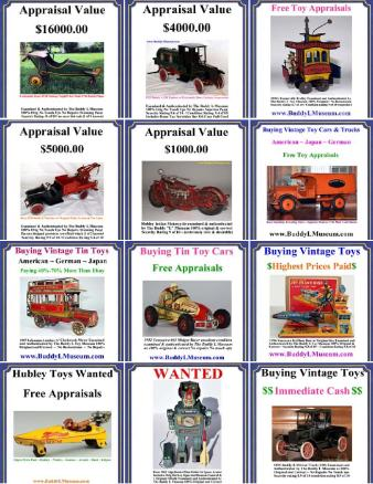 Buying antique toys Buddy L Museum world's largest buyer of vintage and antqiue toys. Free Expert Toy Appraisals. Email pictures of all your old toys for sale. Free confidential toy appraisals. Absolute highest prices paid. Buying German American Japan antique toys